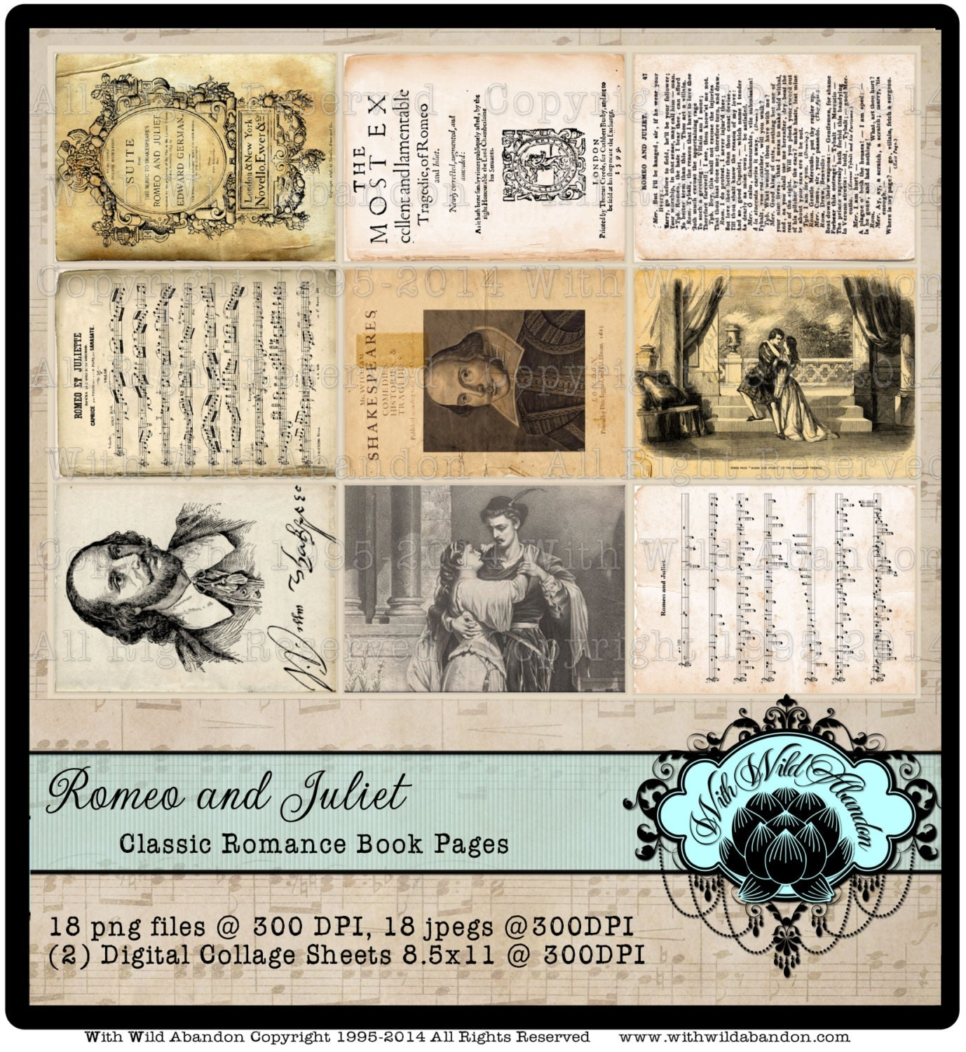 Classic Book Covers Collage ~ Romeo and juliet classic book pages digital collage sheet
