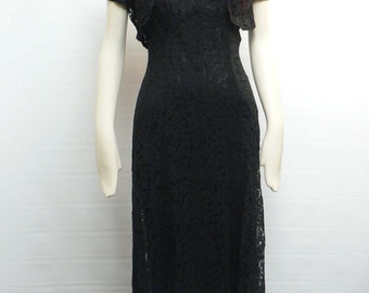 1930s red satin black lace gown with bolero jacket / 30s hollywood dinner dress/ art deco evening gown with brooch