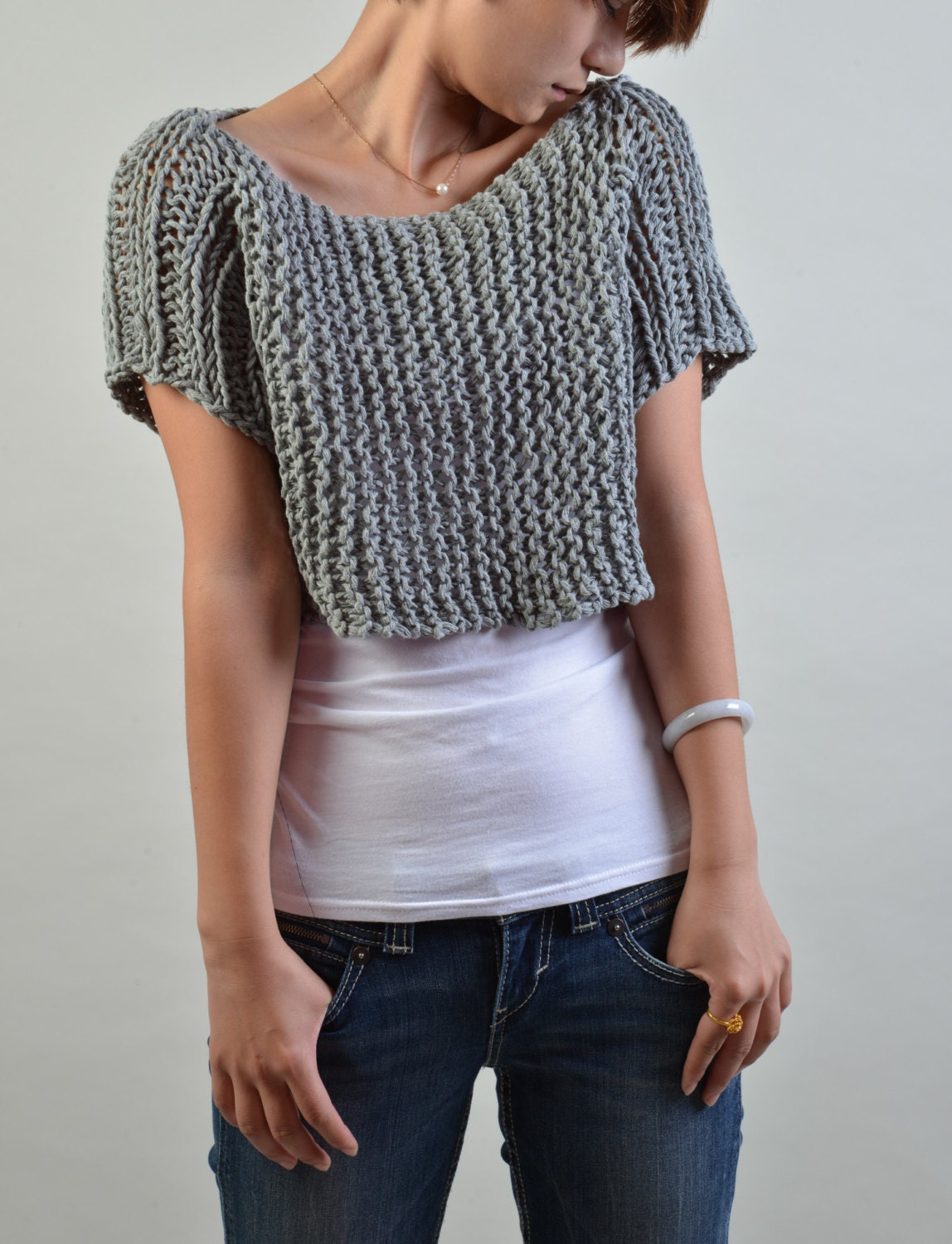 Hand Knit Sweater Short Sleeve Cropped Sweater Little Rug