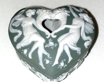 Schafer Vater Jasperware - Hair Receiver Jar - Art Nouveau Vanity Box - Fairies Cameo Heart
