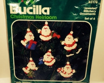 ON SALE Bucilla Jolly Santa's Christmas Heirloom Xmas Ornament Kit Jeweled Stitchery 82178
