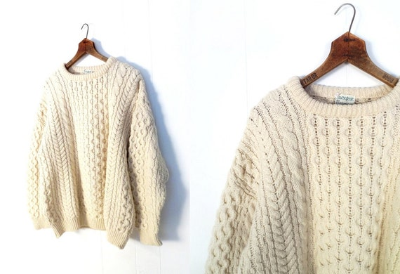 Aran Wool Sweater / Irish Fisherman Sweater / Cream Wool Sweater / L XL