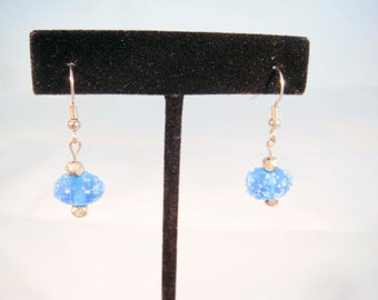 Simple Blue Decorative Glass Beaded Earrings