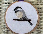 Hand Embroidered Chickadee Hoop Art Bird Free Shipping