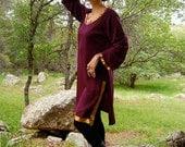 Vintage Maroon Metallic Ethnic India Draped Silk Sari Dress (m l)