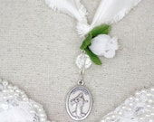 Lady Medugorje - Queen of peace and Lady of Prayer - silk prayer ribbon