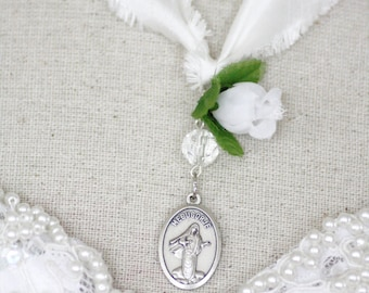 Queen of peace Lady Medugorje - silk prayer ribbon - last few available