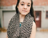Circular Cowl in Brown // Knitted Speckled Mocha Scarf // Infinity Scarf