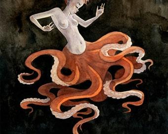 Octopus Mermaid - 8x10 print