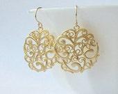 Simple Gold Swirl Dangle Earrings Valentine