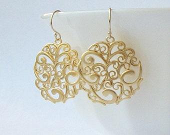 Gold Swirl Dangle Earrings , Paisley Jewelry