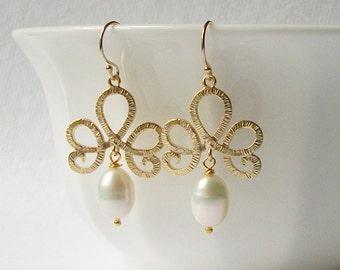 Pearl Tiara Dangle Earrings