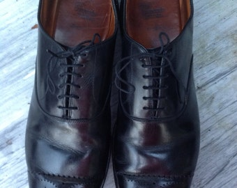 Sale // 80s Fab ALLEN EDMONDS Toe cap BROGUE Black All leather Shoes Size 15