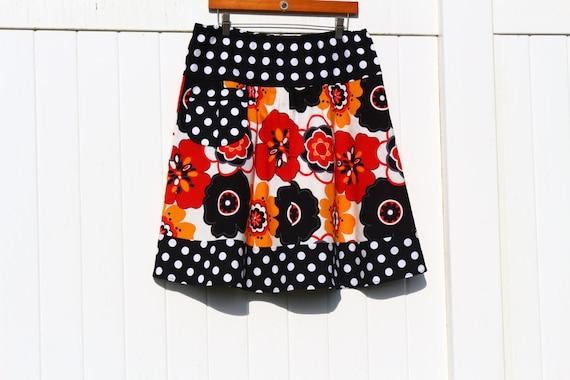 Women's A line Skirt, Kleo, Fed and Yellow Flower Skirt, Polka Dot Skirt, Knee Length, Skirt with a pocket, women's Hip Sizes 30-56 inches