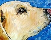 YELLOW LAB in the snow dog art print labrador blue 5x7