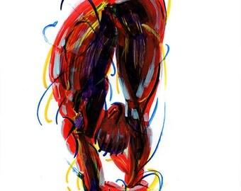 Yoga Art -- Acrylic Painting, Uttanasana Pose