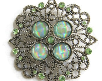 Vintage Filigree Brooch Green Art Glass and Green Rhinestones