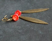Etched Gold Brass Leaf Dangle Earrings Carved Red Coral Flower Long Floral Nature Garden Oxidized Metalwork Boho Jewellery