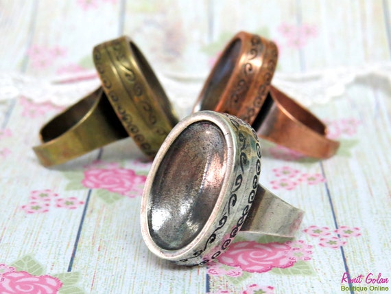 3 Oval Ring Blanks , concave bezel settings for 13x22mm cab, Adjustable band , oxidized rustic , Sterling Silver , Brass and Copper plated