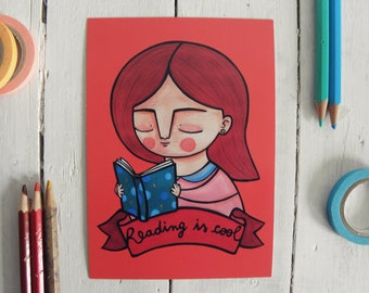 Reading is cool postcard, book lover illustration