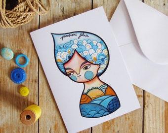 Summer greeting card & envelope, blue sea illustration