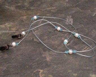 "Aqua and Pearl Eyeglass Chain Lanyard, Glasses Leash, Aqua Crystals and Glass Pearls 32"" - G13"