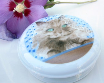 Cat Powder Dresser Jar Fine Porcelain 1985 Portugal Trinket Collectible