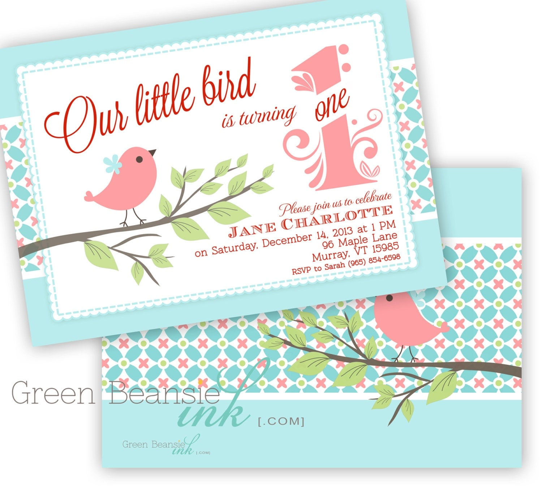LITTLE BIRD Printable Birthday Party Invitation Printing