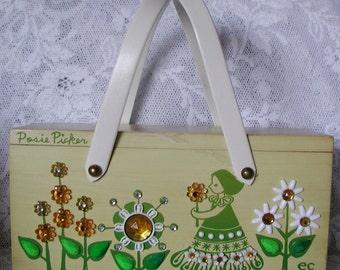 ENID COLLINS Vintage Wooden Box Bag ... Posie Picker
