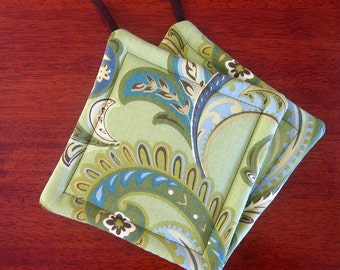 Pot holder set | Green and Brown | Retro kitchen | Paisley | Hot pads | Oven cloth | Fabric potholders - Made to order