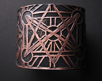 Etched Copper Cuff - Unicursal Hexagram - Occult Symbols - Made to order - handmade in Austin, Tx