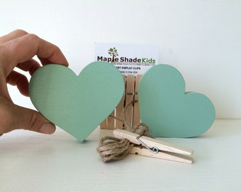 Mint Green Heart Art Display Clips, Heart Art Cable, Mint Green, eco friendly