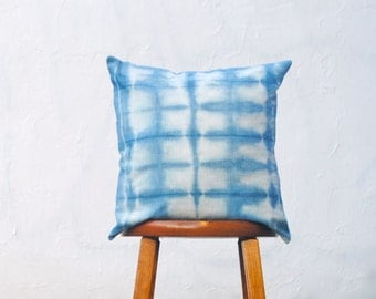Shibori Pillow in Linen- Hand Dyed Indigo Pillow Sham- Pillow Cover, Accent Cushion, Modern