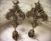Fleur Earrings, Red, Garnet, Fleur de Lys, Renaissance Jewelry, French, Marie Antoinette, Anne Boleyn, Queen, Medieval, Tudor, Ready to Ship
