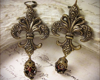 Fleur Earrings, Red, Garnet, Fleur de Lys, Renaissance Jewelry, French, Marie Antoinette, Anne Boleyn, Queen, Medieval, Tudor, Ready to Ship