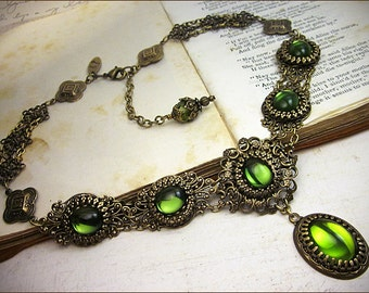 Renaissance Necklace, Green Jewel, Borgia, Victorian Necklace, Bridal, Medieval Wedding, Bridal Jewelry, Tudor Costume, Lucia