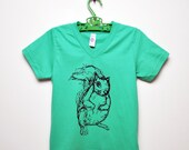 SALE - Mint Green Squirrel V-Neck Tee for Kids