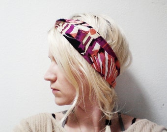 Twist Turban Headband, Tropical Print, Yoga Headband, Turban