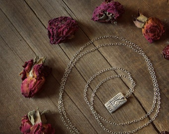 The Ancients Pendant Necklace. Hand-forged Fine Silver Tablet Pendant and Sterling Silver Necklace.