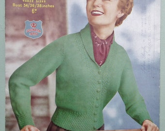 Vintage 1940s 1950s Knitting Pattern Women's Cardigan fitted style with collar - 40s 50s original pattern - Ladies Sports Jacket Sirdar 1434