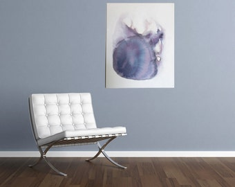 abstract painting Loss by Julie Tillman art home decor purple grey peacock white lavender amethyst watercolor