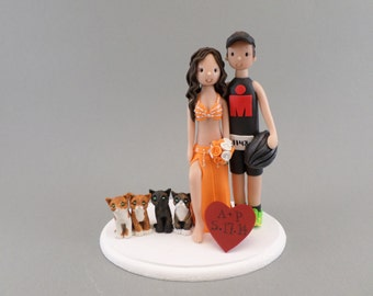 Custom Handmade Bride & groom Wedding Cake Topper