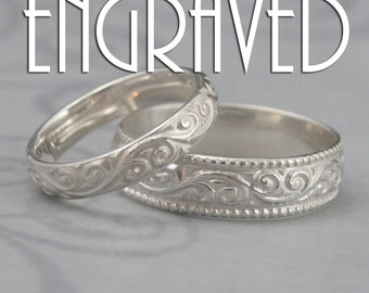 Engraved Flourish Wide Wedding Band Set--Solid Sterling Silver Swirl Patterned His and Hers Wedding Rings--Custom Inside Ring Engraving