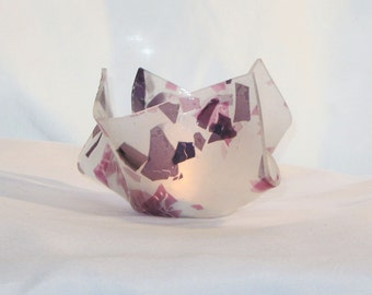 Fused Glass Candle Holder in White, Pink, and Purple - FREE Shipping & Insurance in the USA