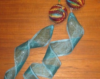 "Burning Man 17"" Double Looped Aura Multicolored Poi with Ice Blue Glitter Detachable Tails"