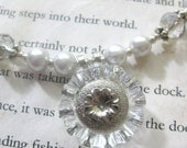 Pretty as a Button - Set of Necklace and Earrings, Made in Shades of Silver and Crystal