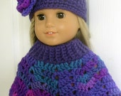 Purple and Turquoise Poncho Set fits American Girl.......Free shipping