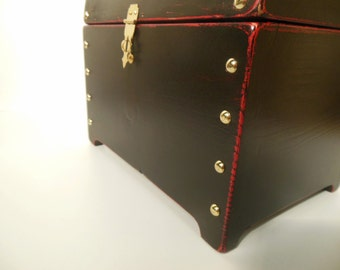 Pirate's Chest Wooden Painted Box with Brass Hardware