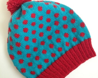 Knit Beanie Polka Dot Wool Blue and Red