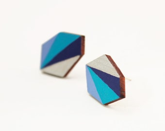 Geometric faceted diamond geo shape stud earrings - blue, turquoise, silver - minimalist, modern hand painted wooden jewelry